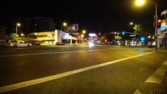 Driving Plates Los Angeles Night Front View 07 West Hollywood Santa Monica Stock Footage