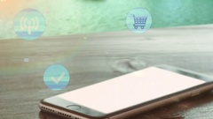 Social media symbols over smartphone Stock Footage