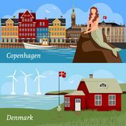 Denmark Flat Style Compositions Stock Illustration