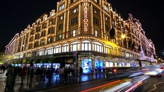 Harrods in London at Christmas - the worlds most famous department store- time Stock Footage