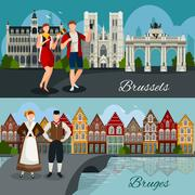 Belgian Cities Flat Style Compositions Piirros