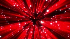 Red Stars Shine Rays Particles Spheres Abstract Motion Background Loop Stock Footage