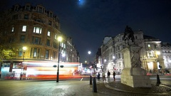 View from Trafalgar Square London to Whitehall and Big Ben - time lapse shot Stock Footage