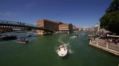 BOATS FERRIES GRAND CANAL VENICE VENEZIA ITALY Stock Footage