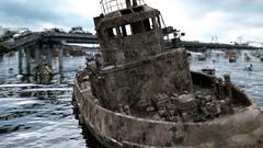 Apocalypse sea view. Destroyed bridge. Armageddon concept.realistic animation. Stock Footage