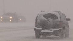 Massive blizzard with zero visibility in snowsquall Stock Footage