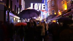 Wonderful Carnaby Street in London at Christmas time - time lapse shot Stock Footage