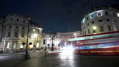 The roundabout at Trafagar Square London and Admiralty Arch - time lapse shot Stock Footage