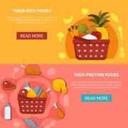Food Supermarket Horizontal Banners Stock Illustration