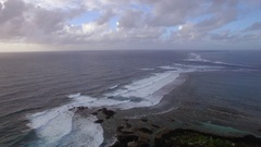 Aerial view of water line of seas that do not mix against blue sky with clouds Stock Footage