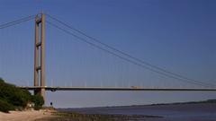 HUMBER BRIDGE NORTH BANK HESSLE HULL ENGLAND Stock Footage