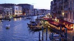 BOATS GONDOLAS ON GRAND CANAL RIALTO VENICE ITALY Stock Footage