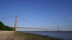 HUMBER BRIDGE ESTURARY HESSLE HULL ENGLAND Stock Footage