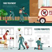 Pest Control Technology Flat Banners Set Stock Illustration