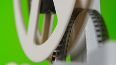 Reel with moving frames on film. Close up Stock Footage