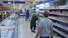 Buyers go to the supermarket, do the shopping Stock Footage