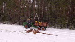 Forwarder working in the forest, processing raw wood in the forest Stock Footage