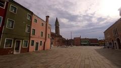 CHIESA DI SAN MARTINO TOWN BURANO VENICE ITALY Stock Footage