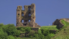 SCARBOROUGH CASTLE BAY NORTH YORKSHIRE ENGLAND Stock Footage