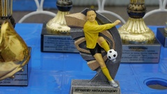 Trophy award players in a football team for participation in the Champions Stock Footage