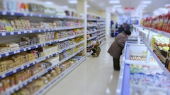 Food supermarket, variety of goods on store shelves Stock Footage