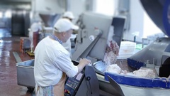 Machine for manufacture of sausage production Stock Footage
