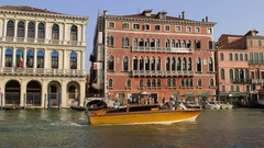 GONDOLAS FERRIES TAXI GRAND CANAL VENICE ITALY Stock Footage