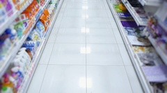 Shelves with goods from the supermarket without people Stock Footage
