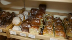 Bread on shelf in bakery and supermarket Stock Footage