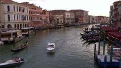 BOATS GONDOLAS ON GRAND CANAL RIALTO VENICE ITALY Stock Footage