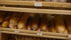 Variety of baked products at a supermarket Stock Footage