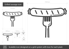 Grilled sausage line icon Stock Illustration