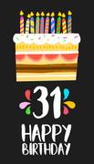Happy Birthday card 31 thirty one year cake Stock Illustration