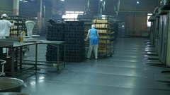 Fresh hot baked bread loafs on the production line Stock Footage