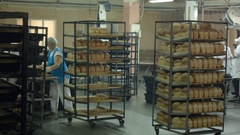 Bread bakery food factory production with fresh products Stock Footage