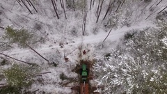 Forwarder working in the forest, view from the above Stock Footage