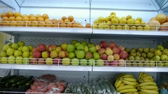 Organic fruits and vegetables on the supermarket shelf. a healthy way of life Stock Footage