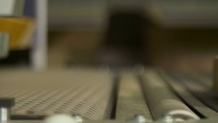 Board sliding out the polishing machine Stock Footage