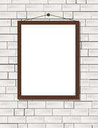 Vector blank poster on the white brick wall realistic mockup Piirros
