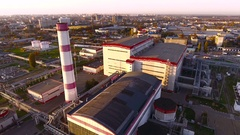 Aerial shot of Krasnodar. Modern heat power station. Russia. 4K Stock Footage