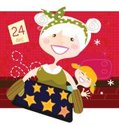 NEW IN SHOP : Hand-drawn cute Grandmother with Kids Stock Illustration