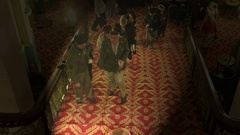 GUESTS WALKING STAIRCASE GRAND HOTEL SCARBOROUGH Stock Footage