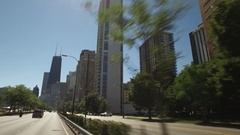 Drive shot of downtown Chicago including the Sears Tower. Stock Footage