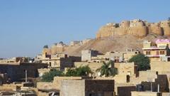 View of Jaisalmer city, India Stock Footage