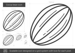 Cocoa bean line icon Stock Illustration
