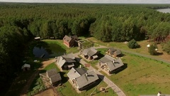 Recreation of the medieval village, resort near the lake Stock Footage