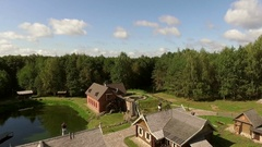 Recreation of the medieval town, resort with the forest on the background Stock Footage