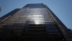 Midtown Chicago drive shot looking up at buildings. Stock Footage