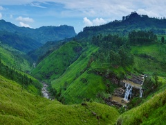 St. Clairs falls, beautiful green tea fields and amazing mountains in Sri Lanka Stock Footage