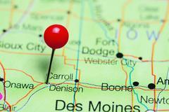 Denison pinned on a map of Iowa, USA Kuvituskuvat